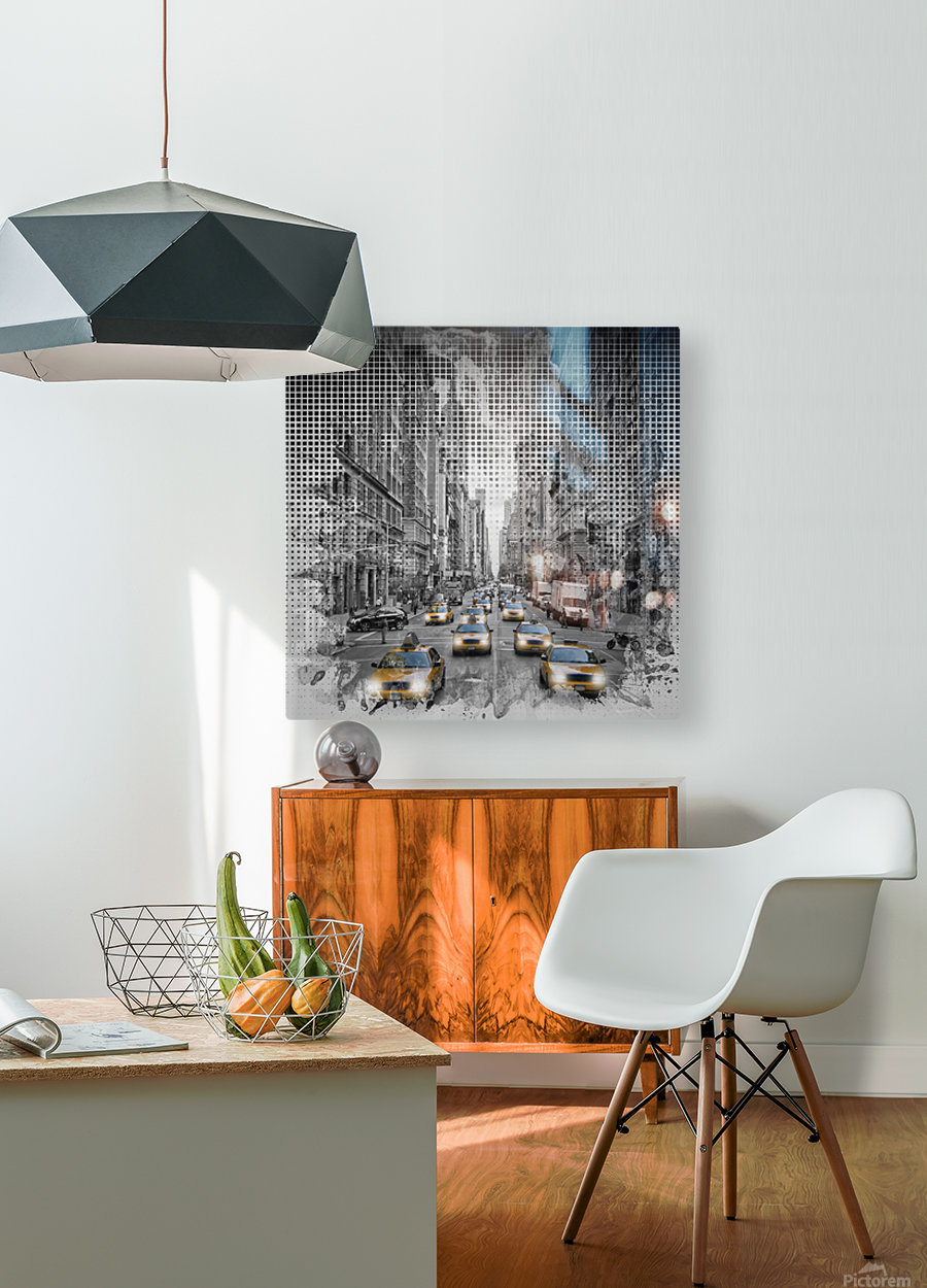 Graphic Art NEW YORK CITY 5th Avenue Traffic  HD Metal print with Floating Frame on Back