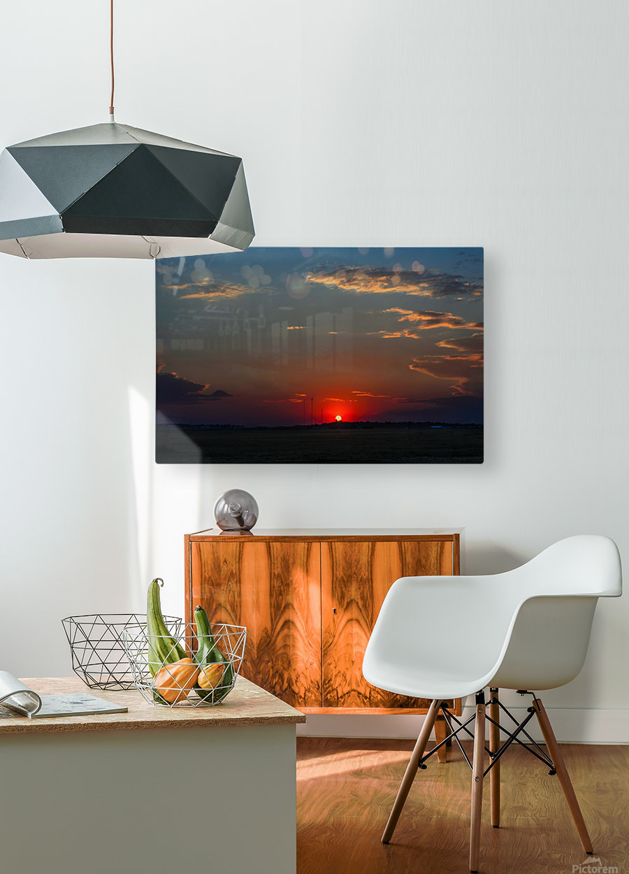 Crimson Red Sunset Over The Hill With A Black Silhouette  HD Metal print with Floating Frame on Back