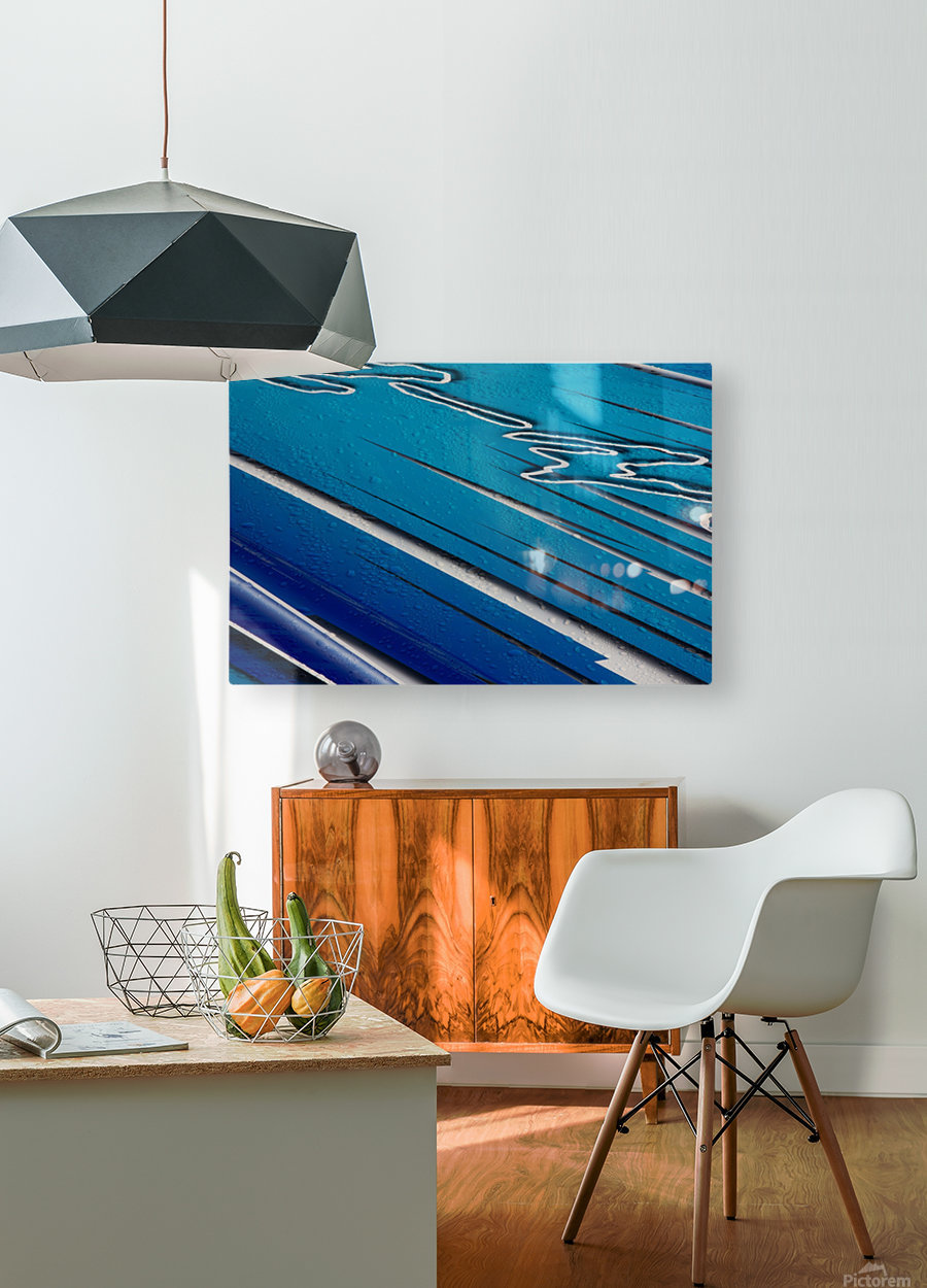 Diagonally Blue  HD Metal print with Floating Frame on Back