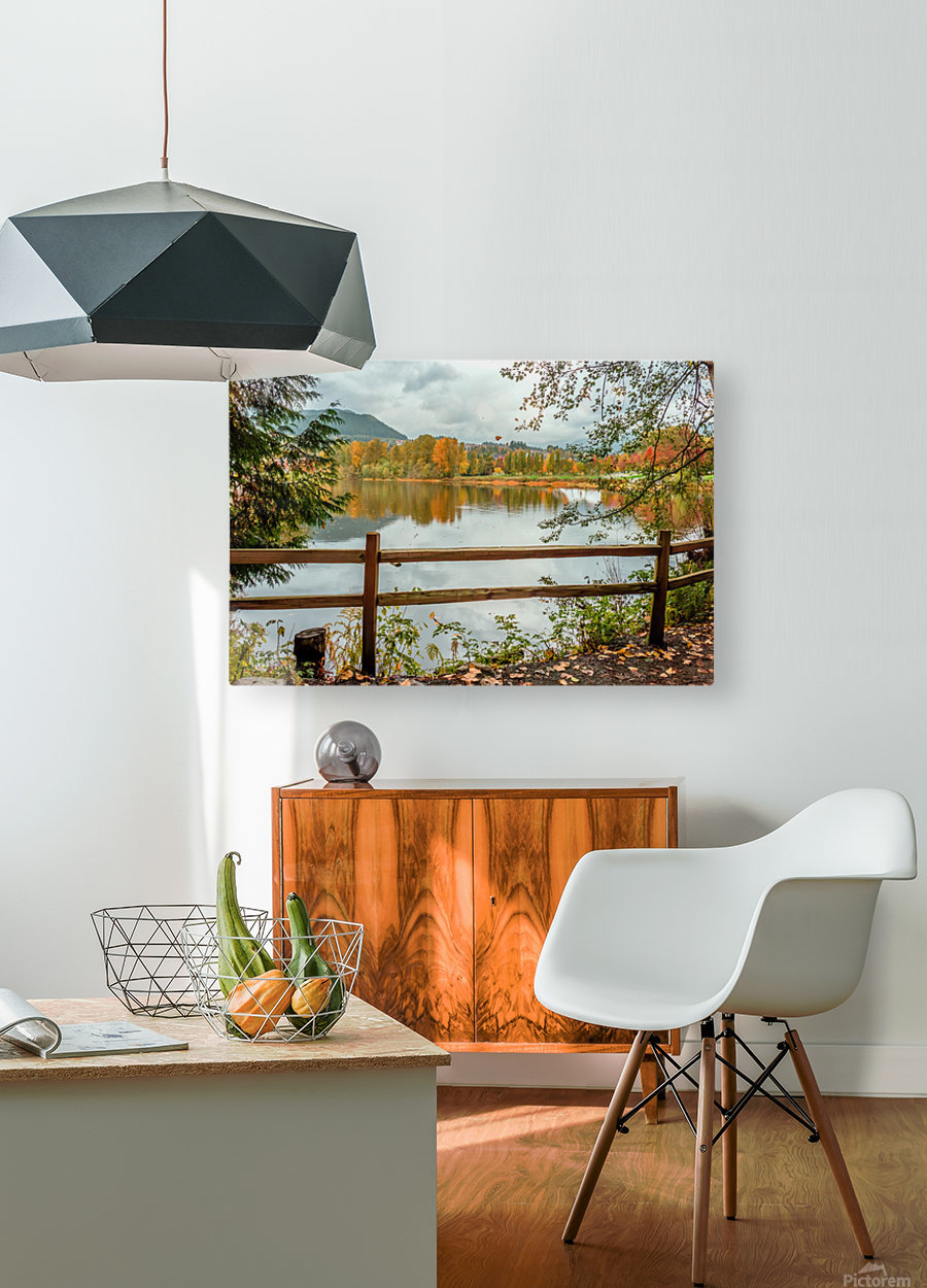 Wooden hedge blocks, falling autumn leaves, the water surface of the pond  HD Metal print with Floating Frame on Back