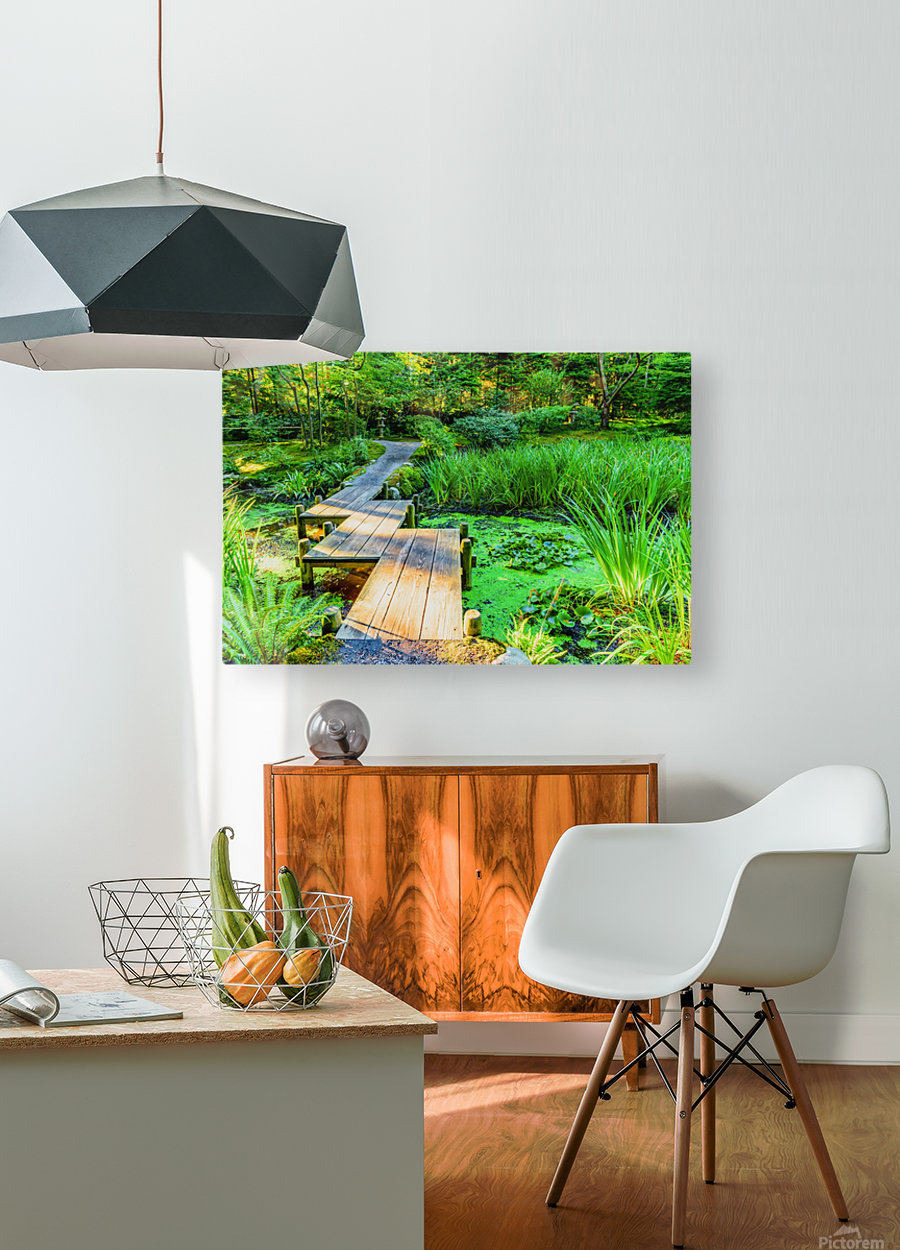 wooden bridge across a pond with duckweed and leaves of water lilies  HD Metal print with Floating Frame on Back