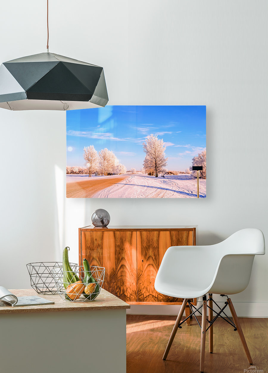 Beautiful, colorful and cold winter with snow and frost  HD Metal print with Floating Frame on Back