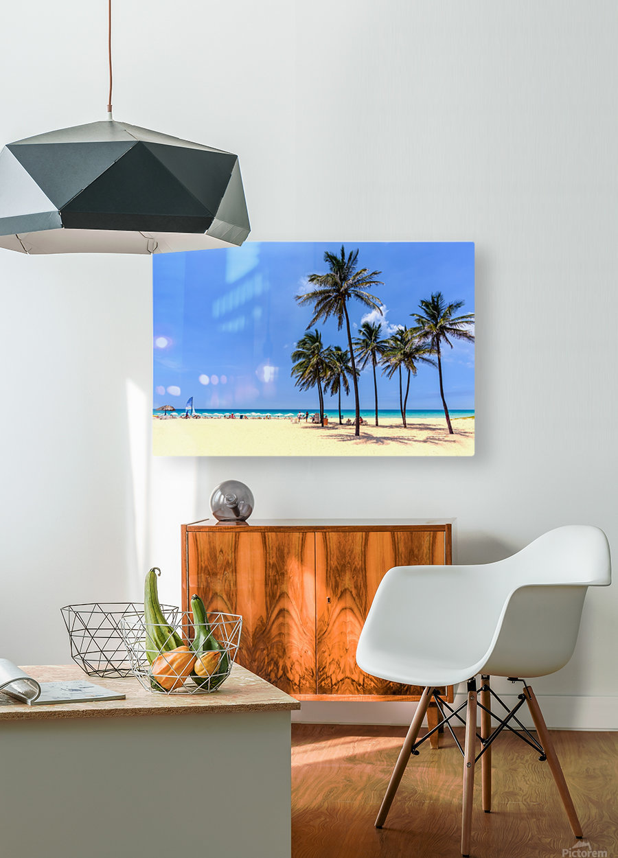 vacation on the beach on the hot Caribbean islands with green palms, yellow sand, blue sky  HD Metal print with Floating Frame on Back