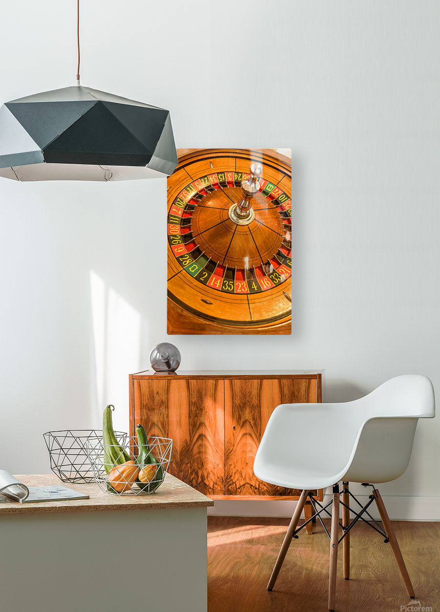 Round, wooden roulette wheel with numbers around the wheel  HD Metal print with Floating Frame on Back