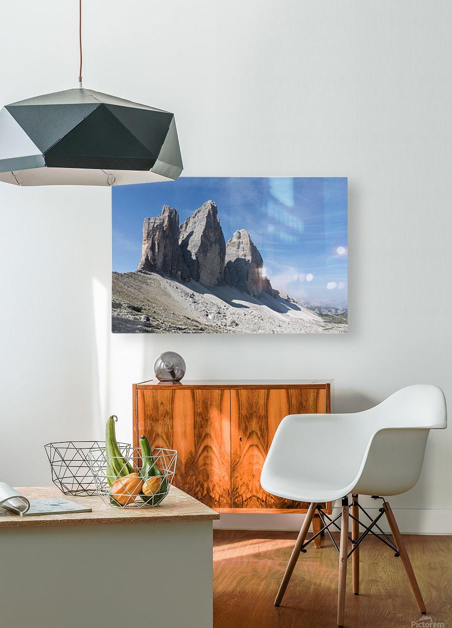 Three peaks of Lavaredo  HD Metal print with Floating Frame on Back