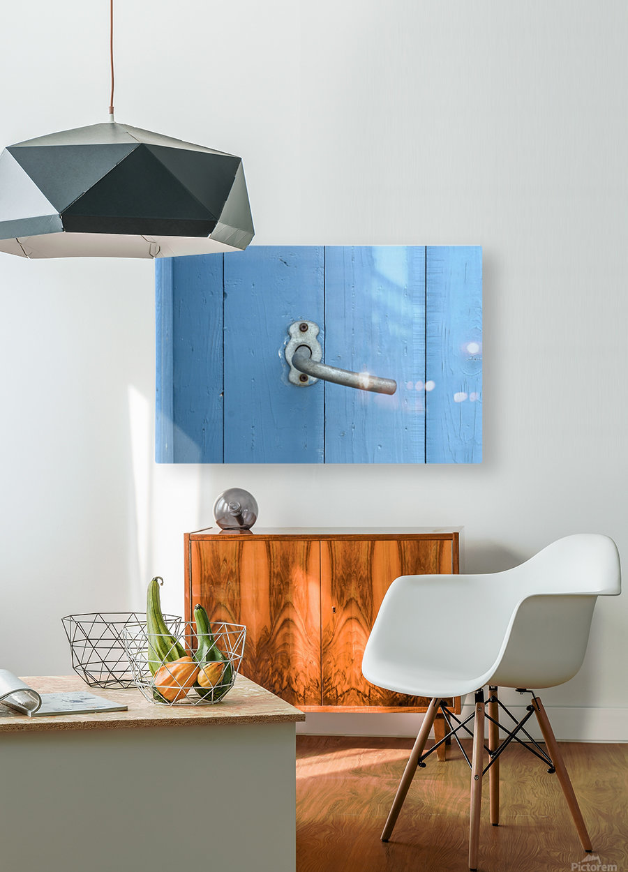 Blue Door  HD Metal print with Floating Frame on Back