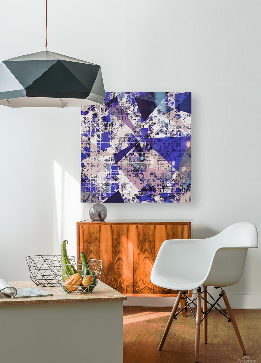 psychedelic geometric triangle polygon pattern abstract in blue and pink  HD Metal print with Floating Frame on Back