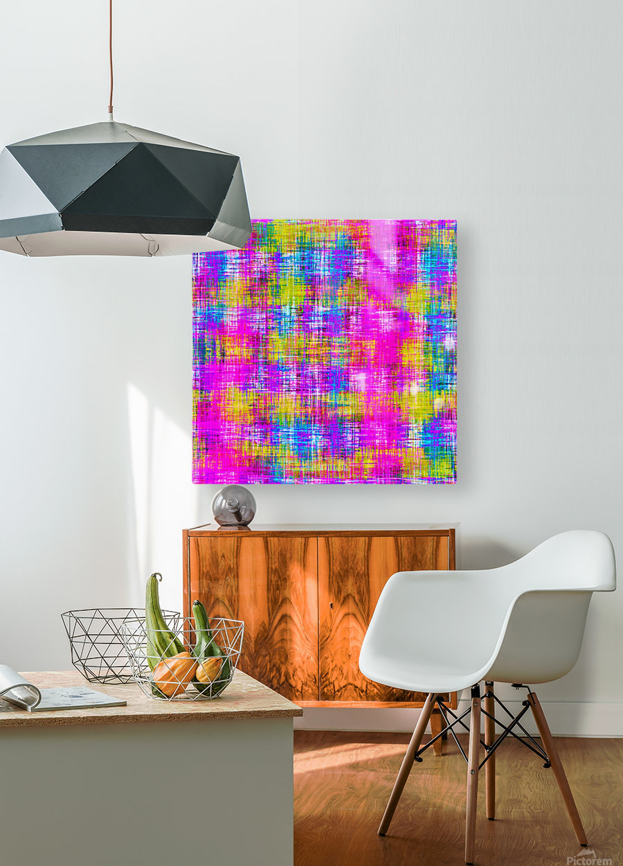 plaid pattern painting texture abstract background in pink purple blue yellow  HD Metal print with Floating Frame on Back