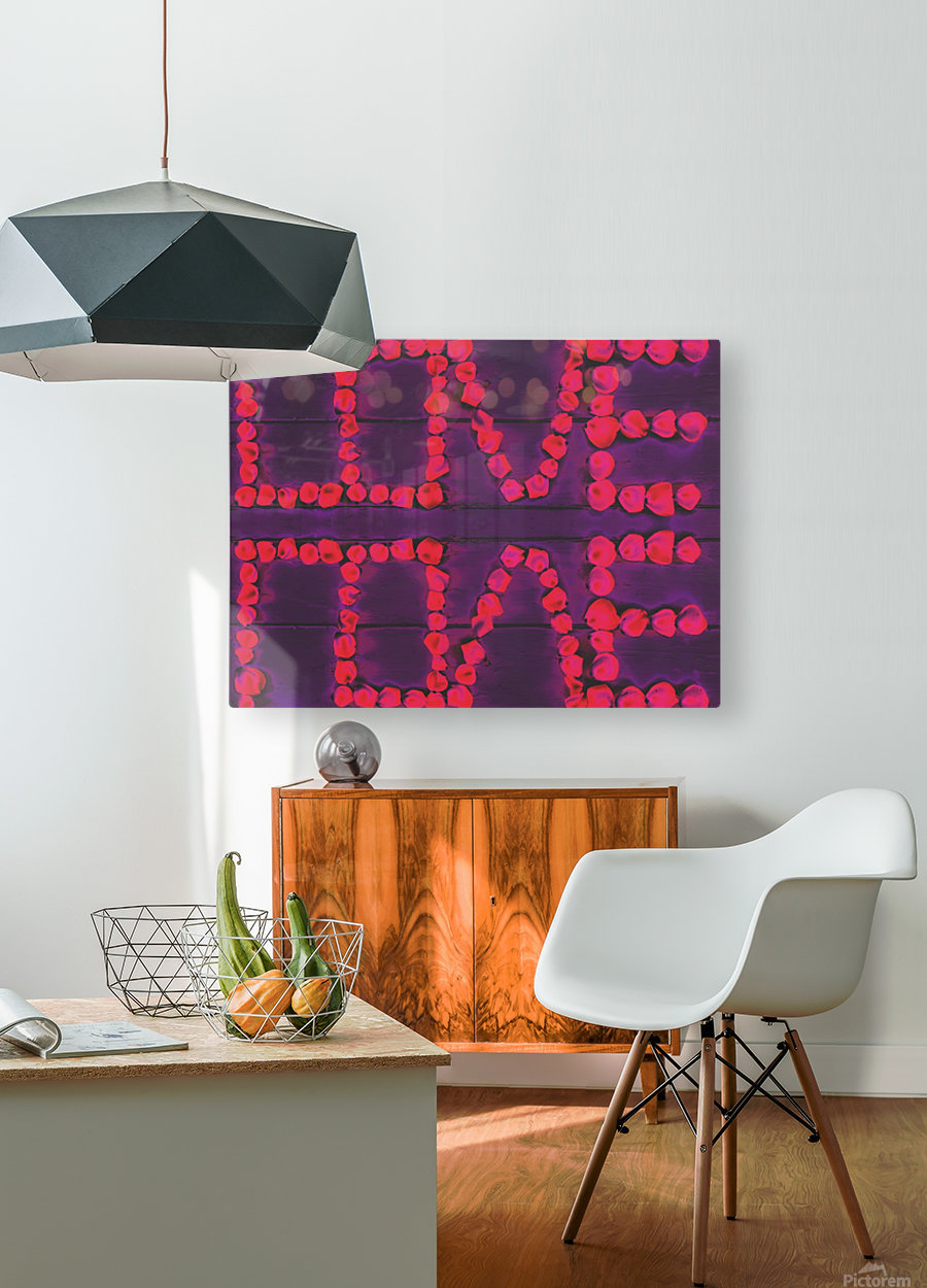 LOVE with pink rose on the purple wood background  HD Metal print with Floating Frame on Back