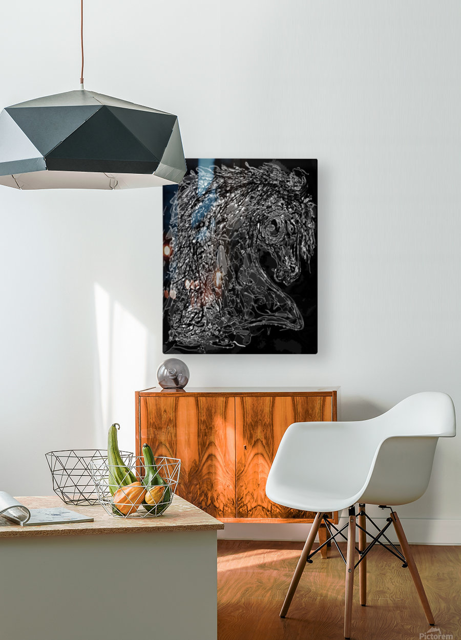 ''Horse''  Inspired by Dripped Abstract Pollock Style   HD Metal print with Floating Frame on Back