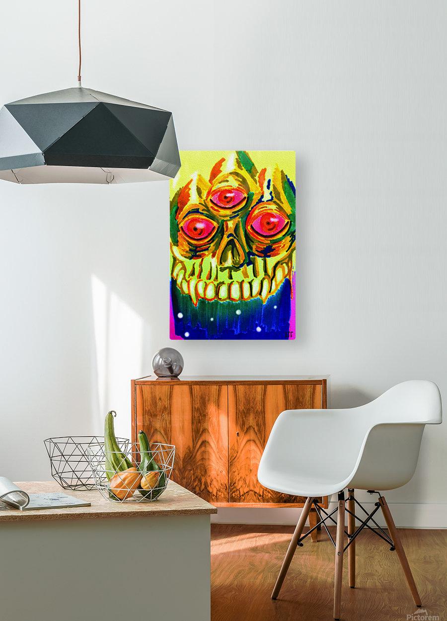 Three eyed skull painting  Impression métal HD avec cadre flottant sur le dos