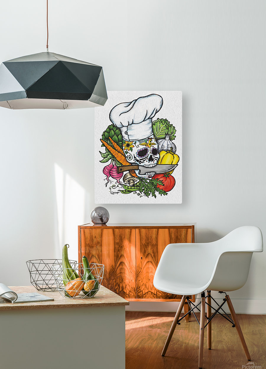 Dia de los Muertos Chef  HD Metal print with Floating Frame on Back