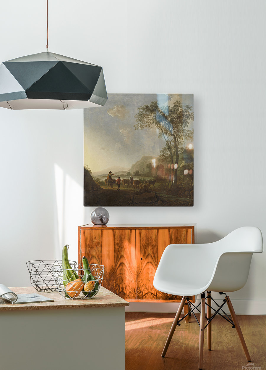 Landscape with herdsman and cattle  HD Metal print with Floating Frame on Back