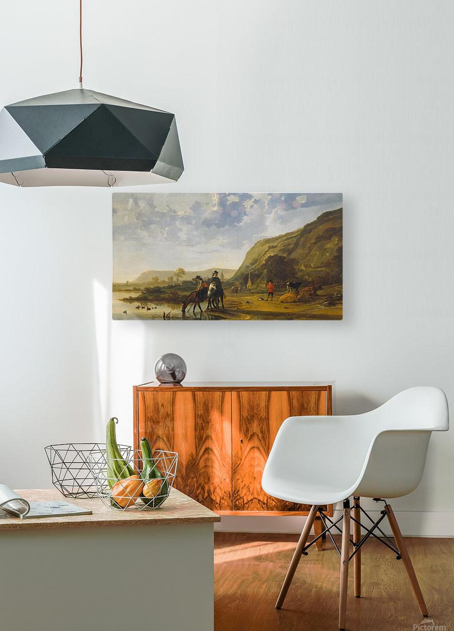 Rivierlandschap met ruiters  HD Metal print with Floating Frame on Back