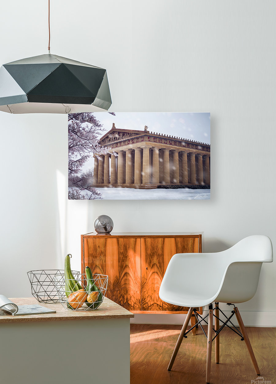 Parthenon in Nashville during winter  HD Metal print with Floating Frame on Back