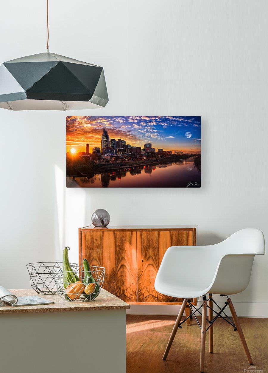 Nashville Skyline and sunset  HD Metal print with Floating Frame on Back