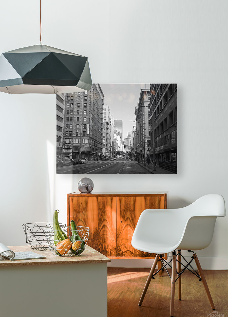 7th & Broadway DTLA - B&W  HD Metal print with Floating Frame on Back