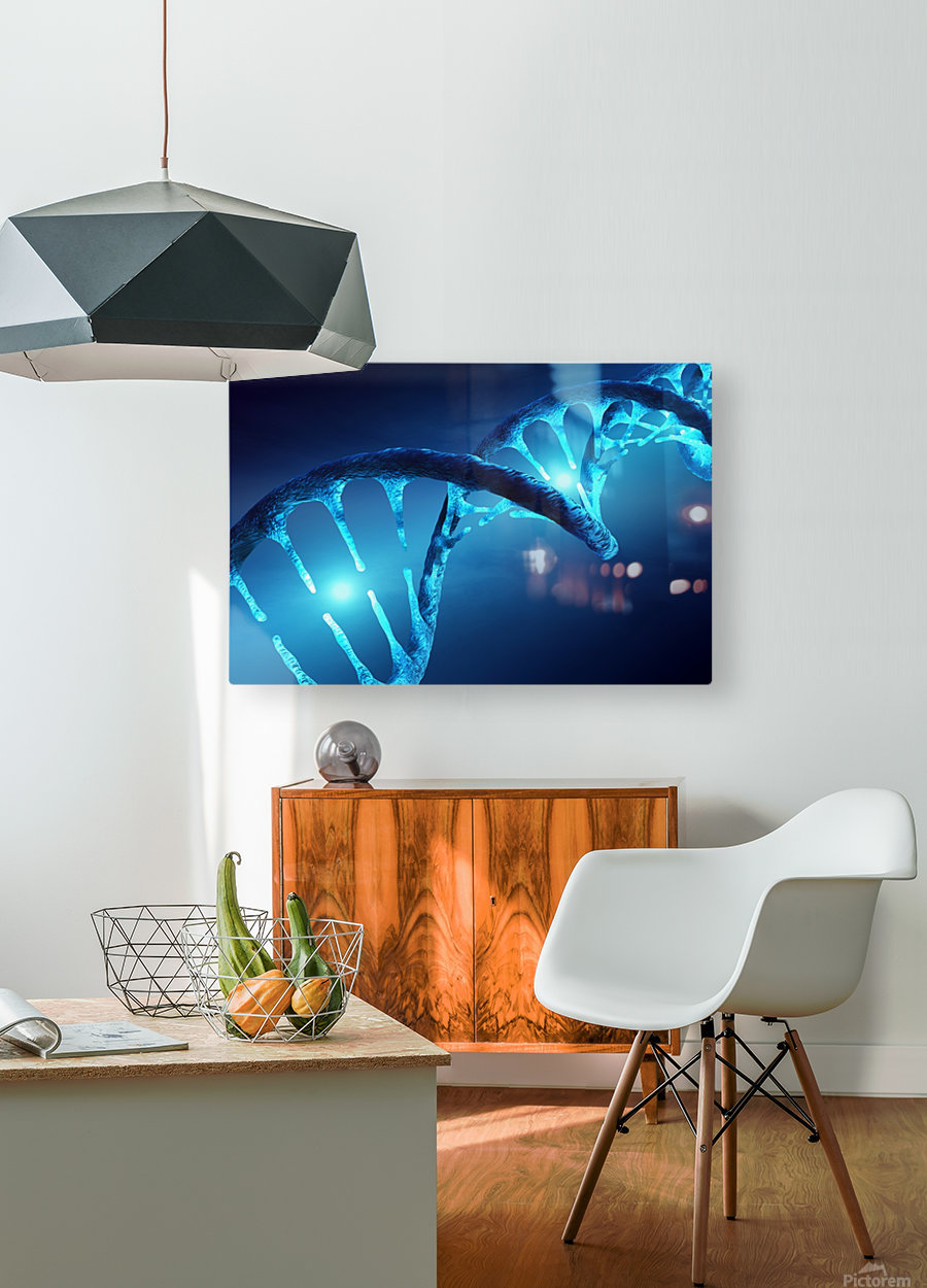 DNA structure illuminated  HD Metal print with Floating Frame on Back