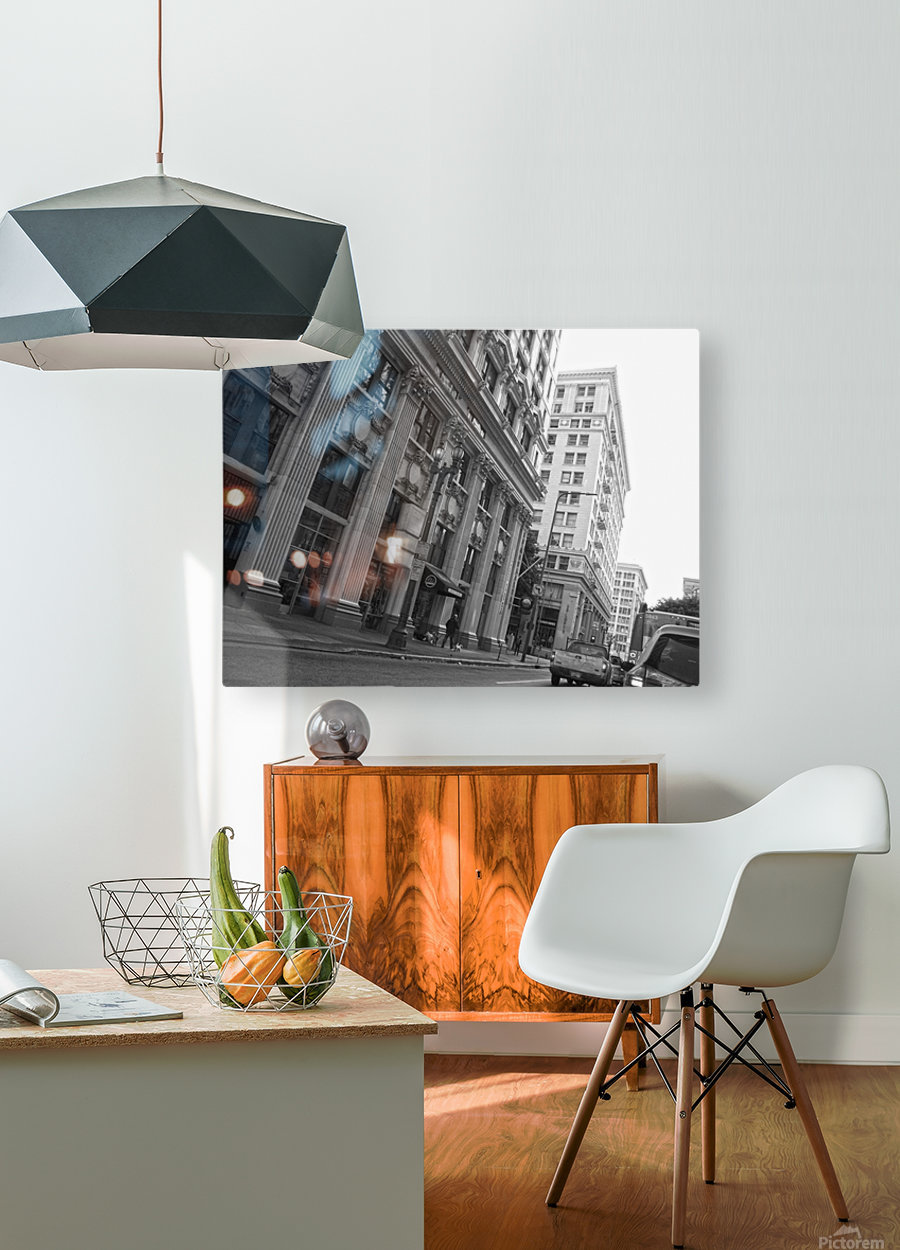 6th & Spring DTLA - B&W  HD Metal print with Floating Frame on Back
