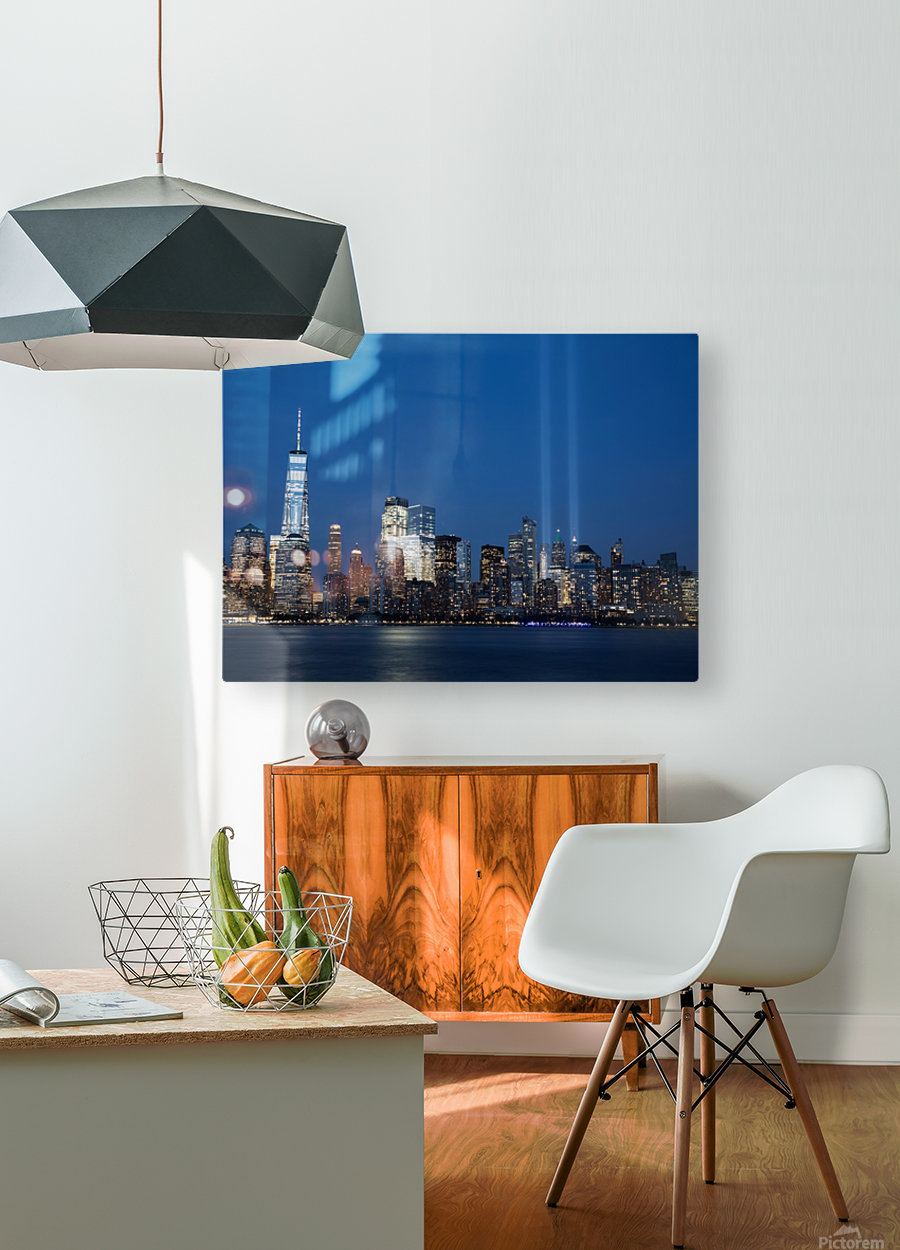 911 Memorial Lights NYC skyline  HD Metal print with Floating Frame on Back