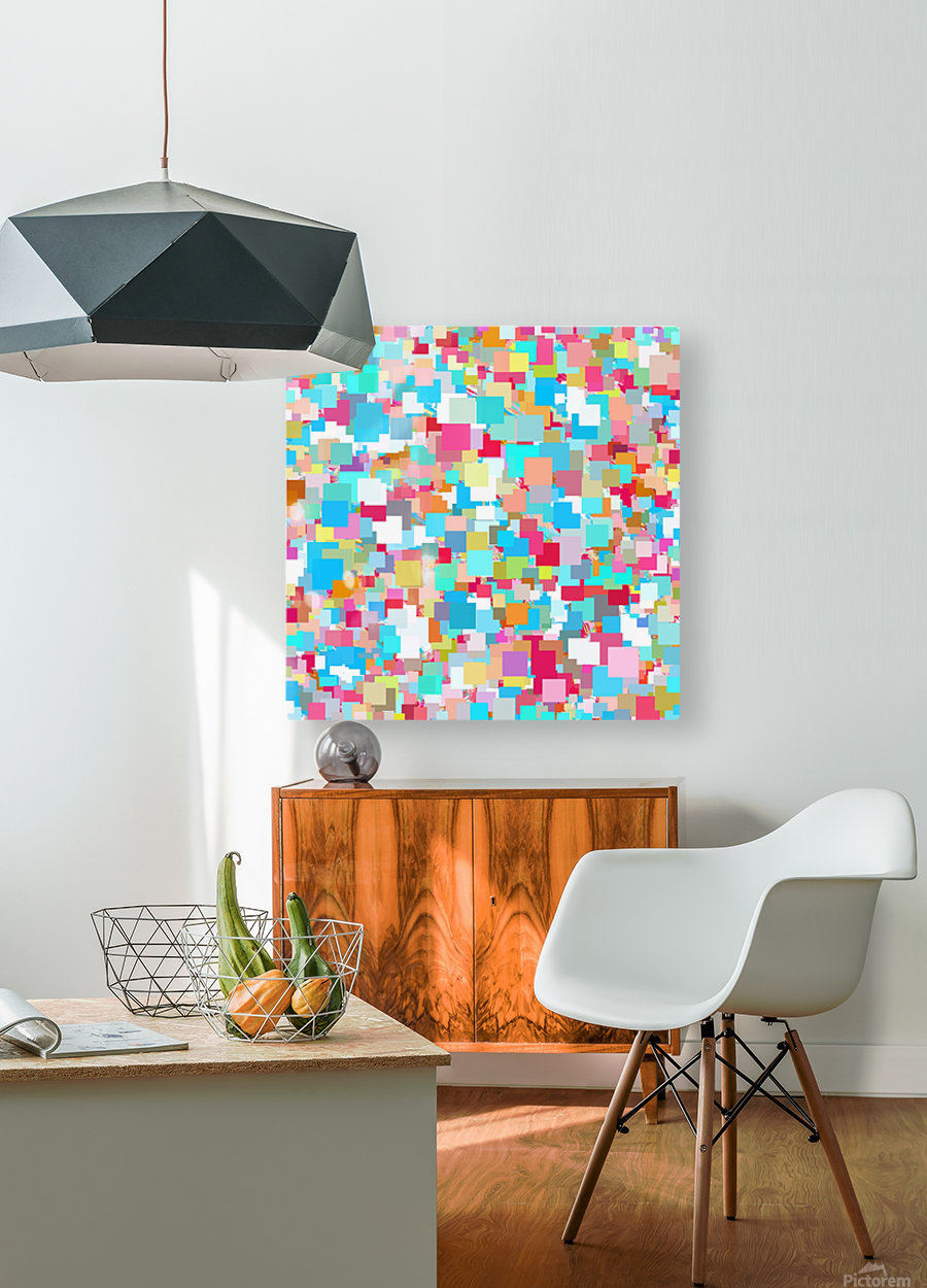 geometric square pixel pattern abstract background in blue pink orange green  HD Metal print with Floating Frame on Back