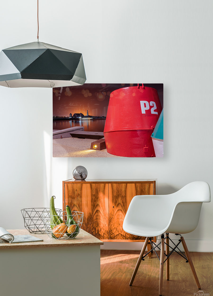 Orange lights with Geelong Pier and Buoys  HD Metal print with Floating Frame on Back