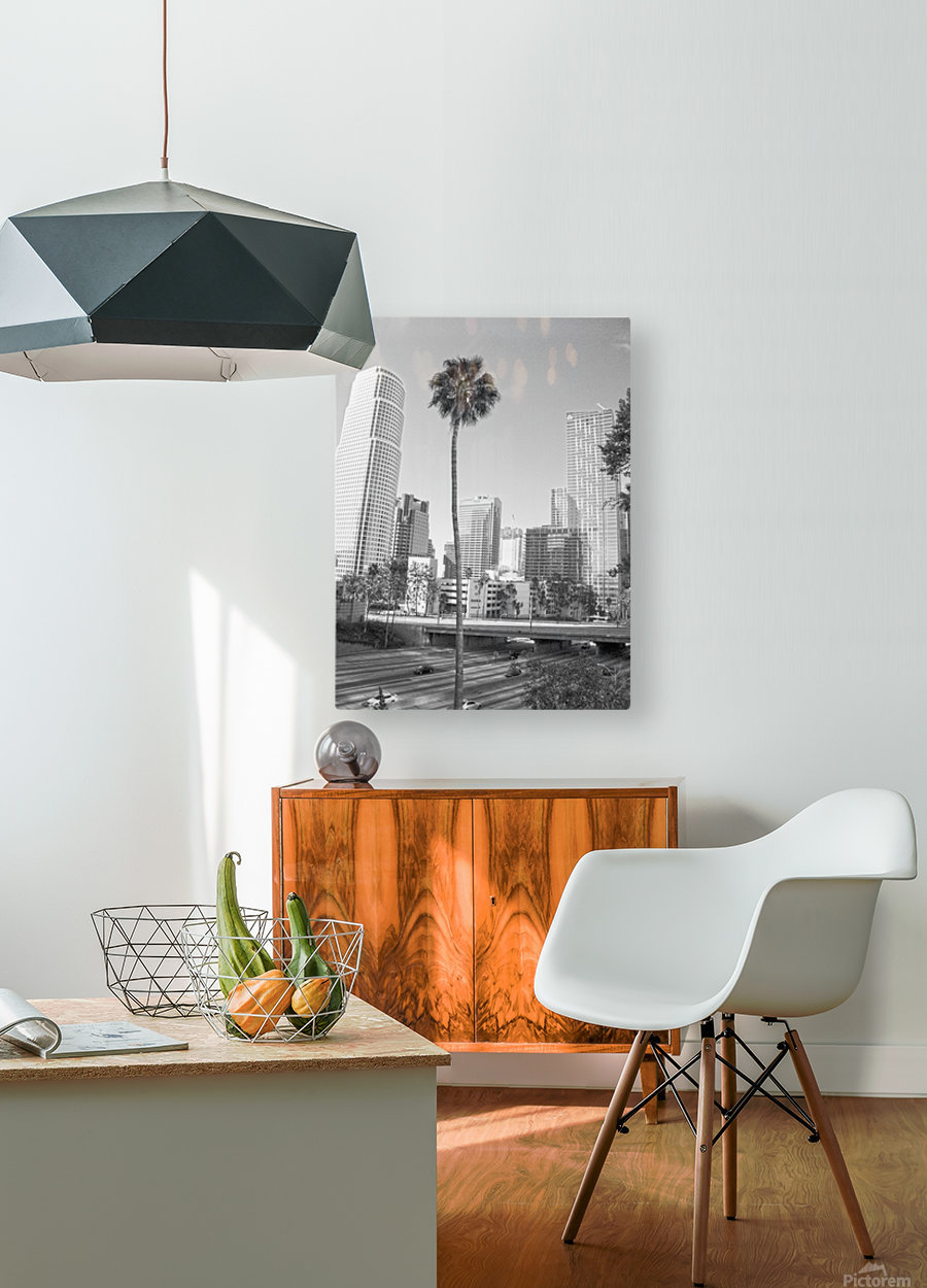 DTLA Palm Tree  HD Metal print with Floating Frame on Back