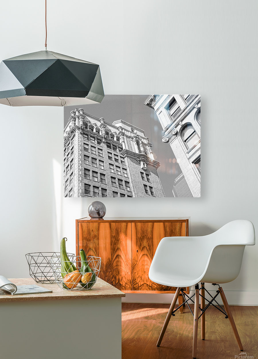 DTLA South Broadway & West 3rd - B&W  HD Metal print with Floating Frame on Back