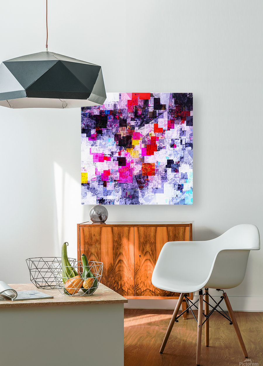 vintage psychedelic geometric square pixel pattern abstract in pink red blue purple  HD Metal print with Floating Frame on Back