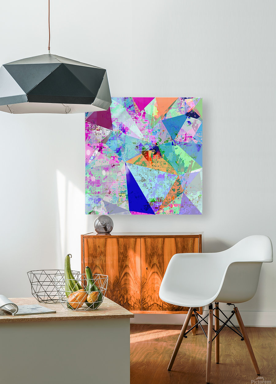 vintage psychedelic triangle polygon pattern abstract in blue pink green yellow  HD Metal print with Floating Frame on Back