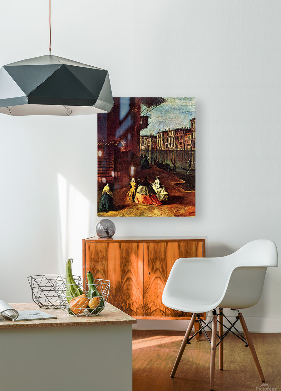 Venice, The Grand Canal with San Geremia, Palazzo Labia, and the Entrance to the Cannaregio  HD Metal print with Floating Frame on Back