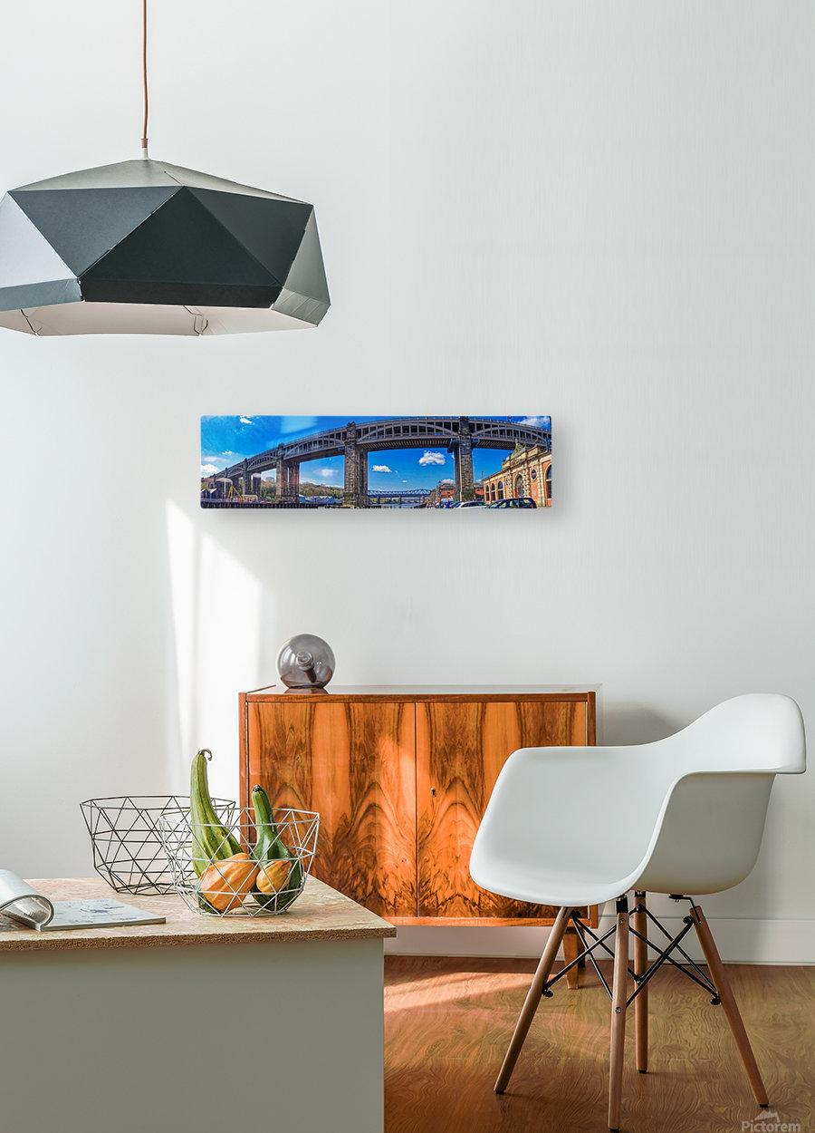 Newcastle railway bridge  Impression métal HD avec cadre flottant sur le dos