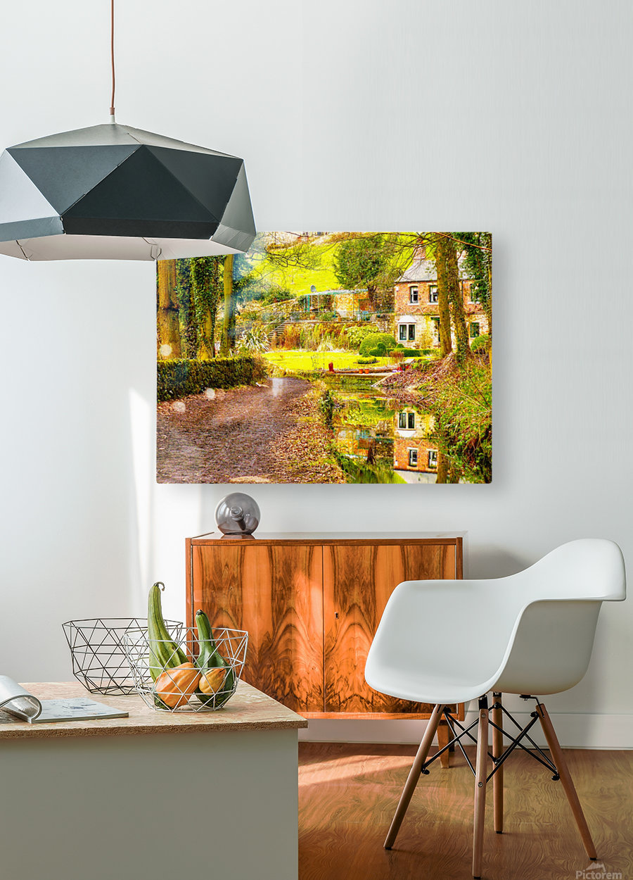 Reflective canal corner  HD Metal print with Floating Frame on Back