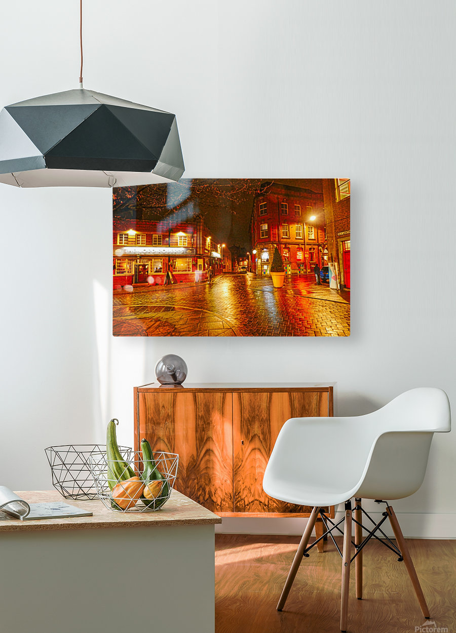 Wet streets by night  HD Metal print with Floating Frame on Back