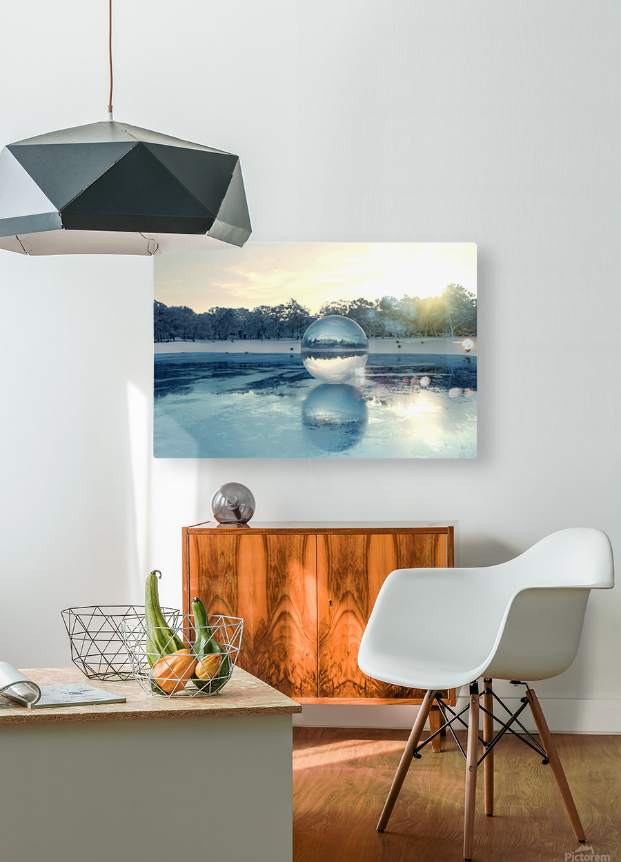 crystal ball on frozen lake  HD Metal print with Floating Frame on Back