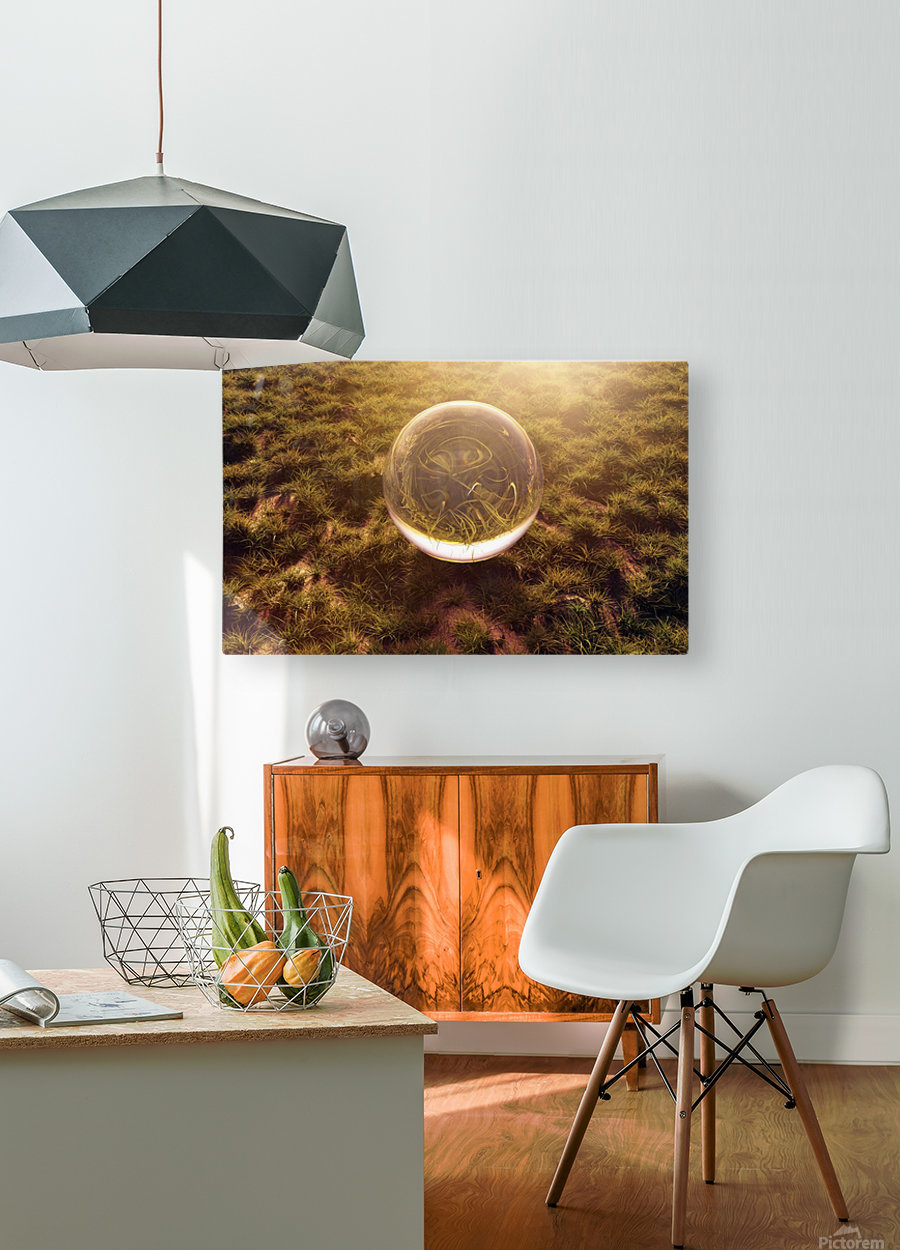 crystal ball on green grass in the morning sunshine light  HD Metal print with Floating Frame on Back