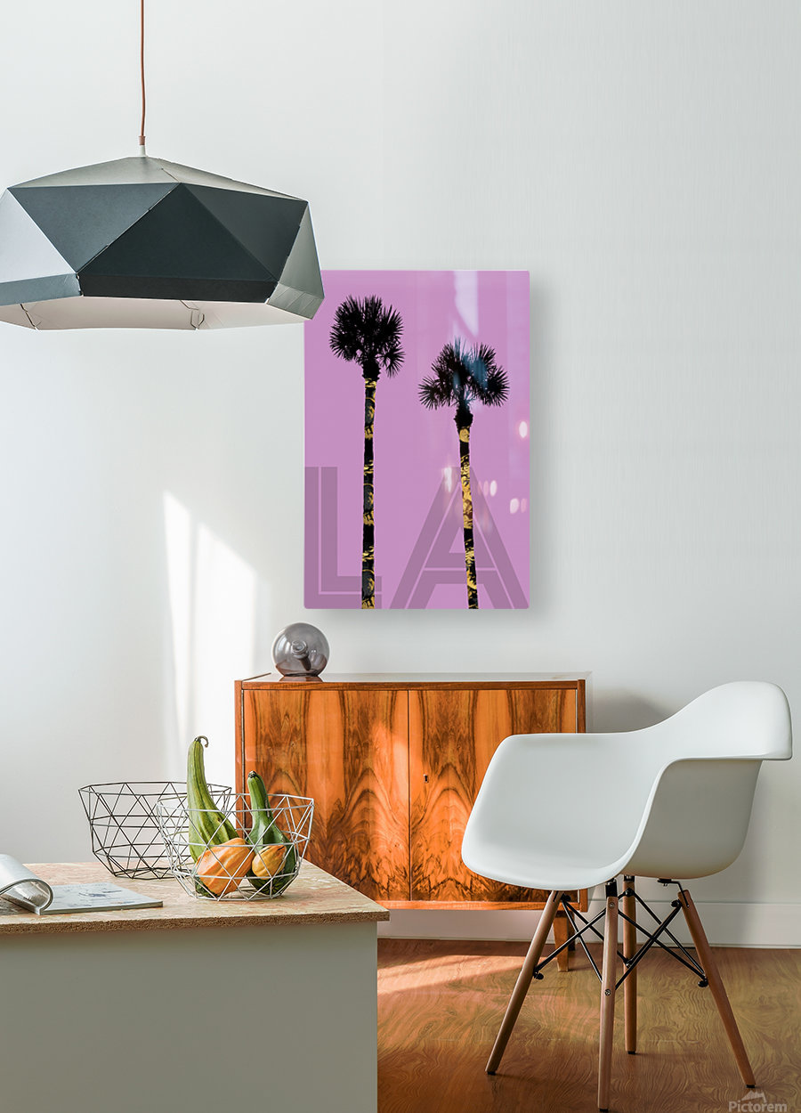 Graphic Art PALM TREES LA | pink  HD Metal print with Floating Frame on Back