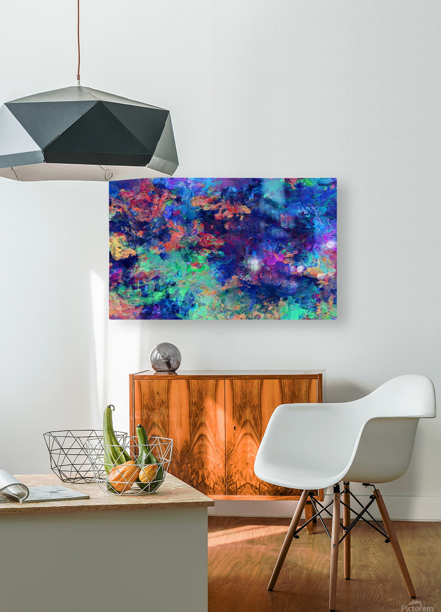 Abstract Colors  HD Metal print with Floating Frame on Back