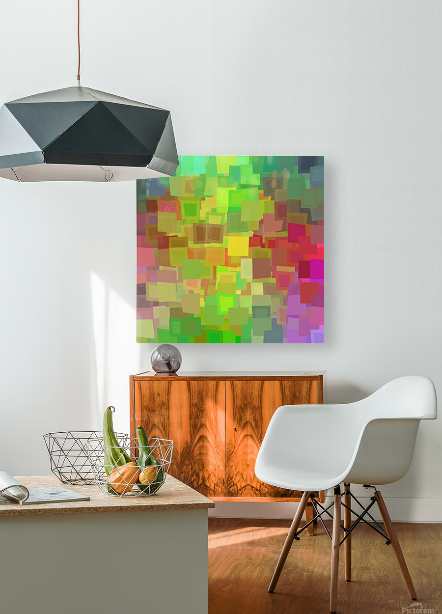 Vivid Squares  HD Metal print with Floating Frame on Back