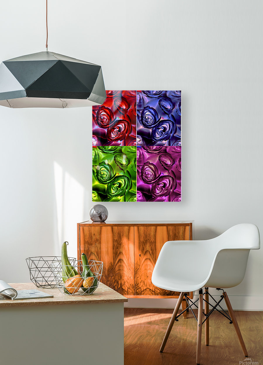 PSYCHEDELIC ROSES   HD Metal print with Floating Frame on Back