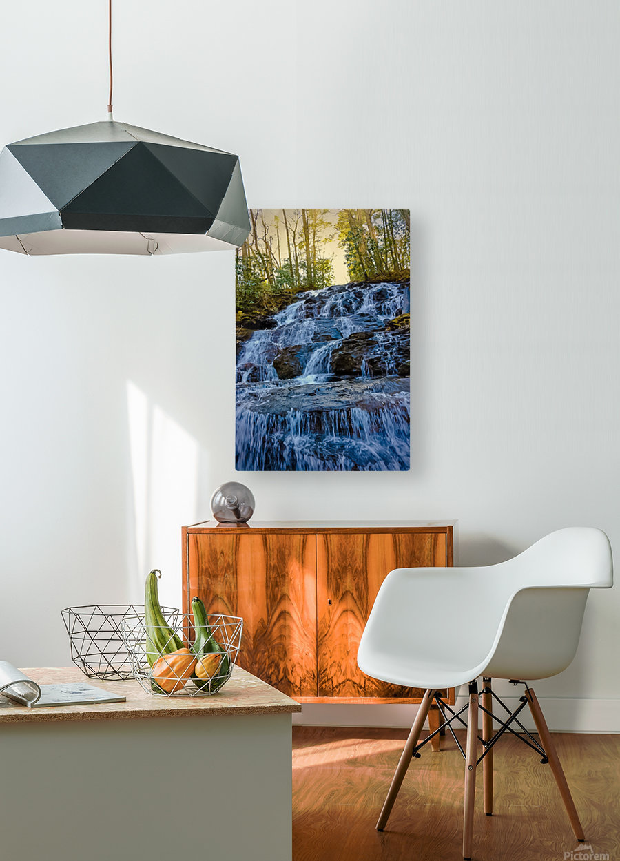 Waterfall in the Woods  HD Metal print with Floating Frame on Back