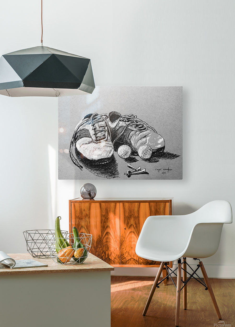Tired  Nikes  HD Metal print with Floating Frame on Back