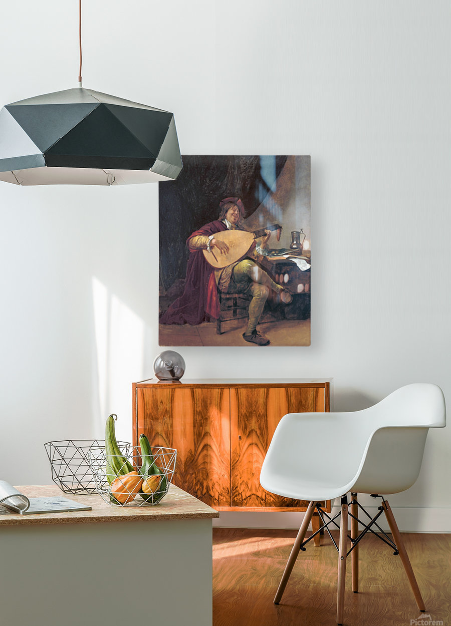 Selbstportrat als Lautenis  HD Metal print with Floating Frame on Back