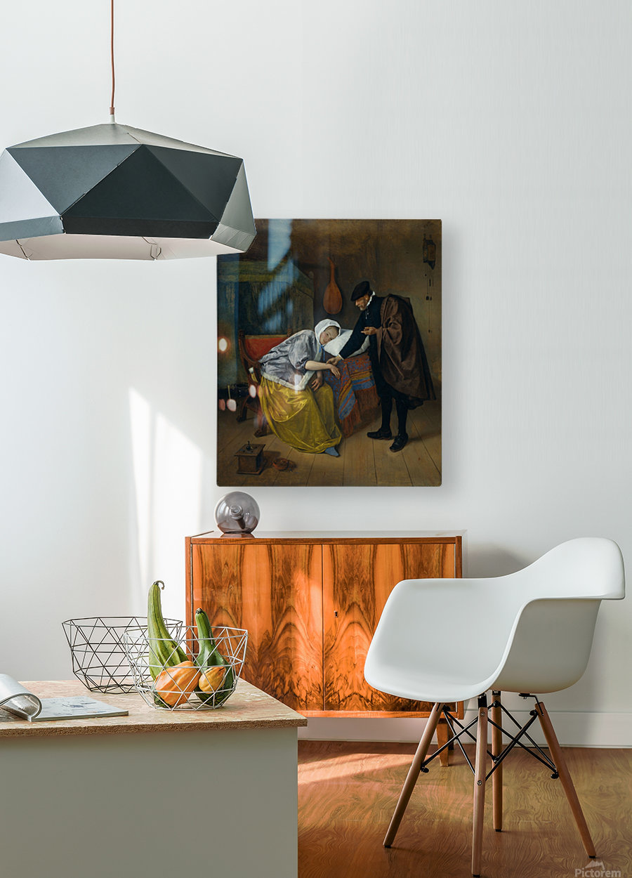 Steen Doctor and His Patient  HD Metal print with Floating Frame on Back