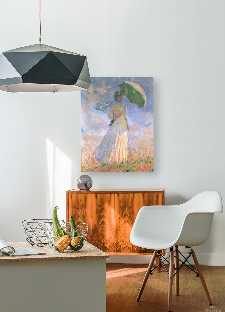 Woman with Parasol  HD Metal print with Floating Frame on Back