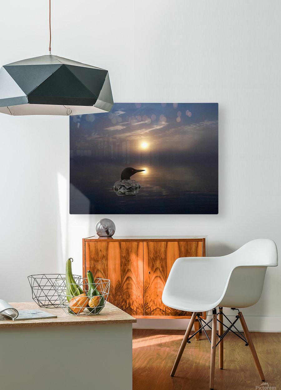 LoonAtSunrise_1527463927.19  Impression métal HD avec cadre flottant sur le dos