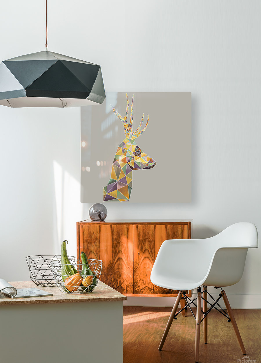Deer mosaic  HD Metal print with Floating Frame on Back