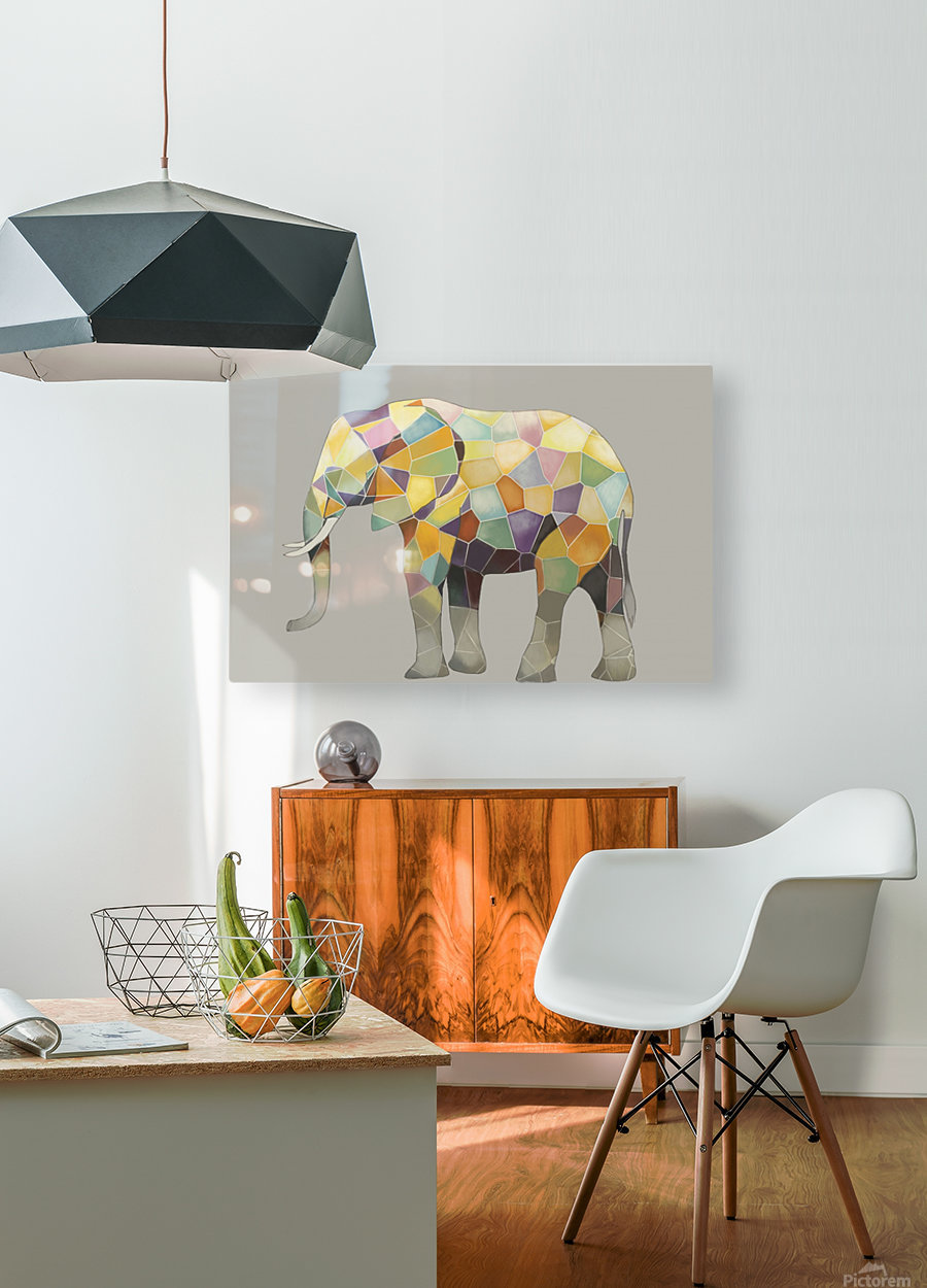Elephant Mosaic  HD Metal print with Floating Frame on Back