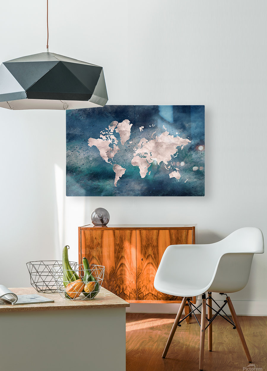 Map Green  HD Metal print with Floating Frame on Back
