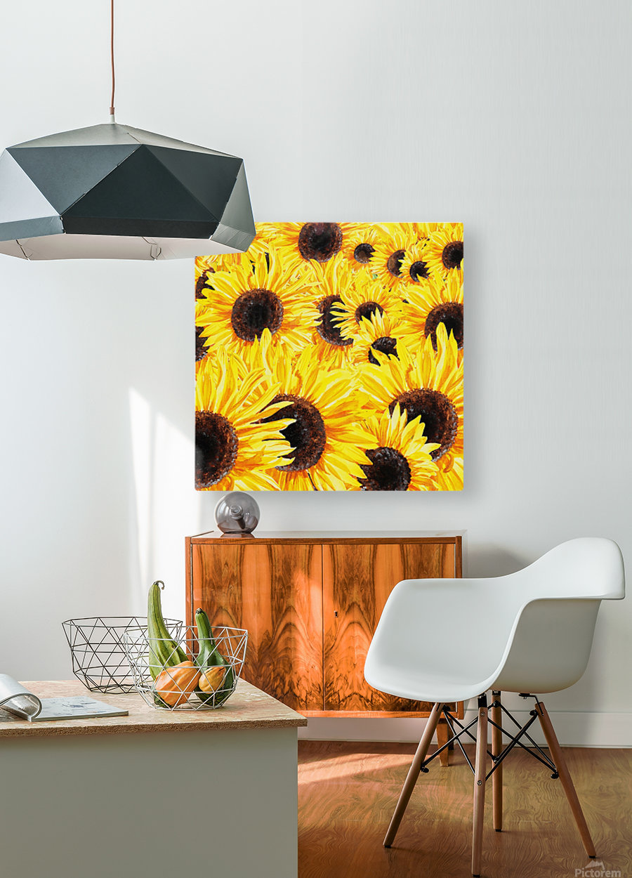Sunflowers Field Watercolor Painting by Irina Sztukowski  HD Metal print with Floating Frame on Back